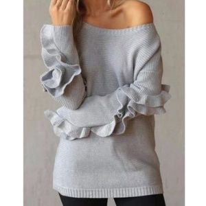 Sweaters - Just in!!! Grey Oversized Ruffle Sleeves Sweater